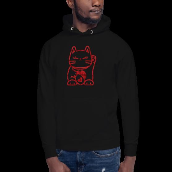 love cat hoodie man black