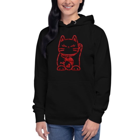 love cat hoodie woman black