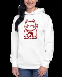 love cat hoodie woman white