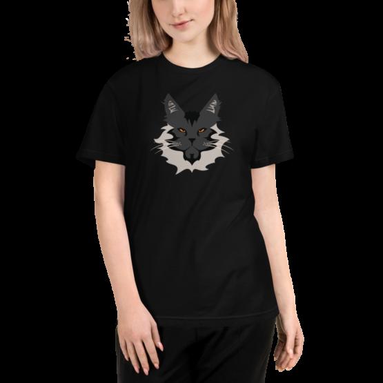 maine coon eco t-shirt woman black