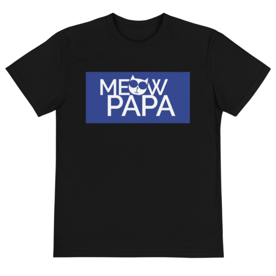meow papa eco t-shirt front black