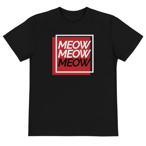 always be meowing eco t-shirt front black