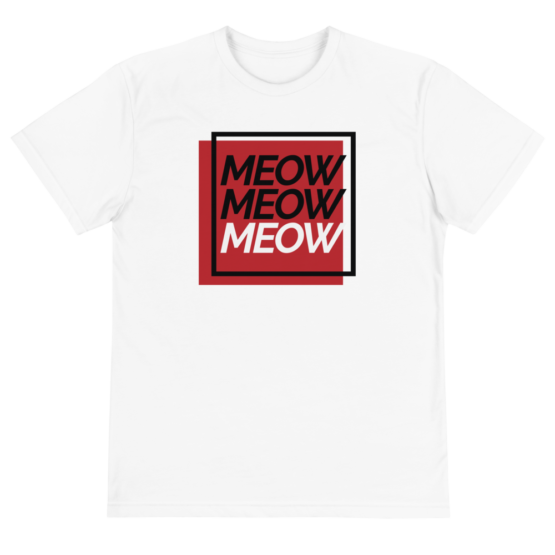 always be meowing eco t-shirt front white