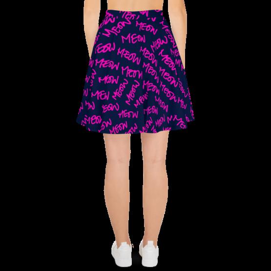 meows all over print skater skirt back