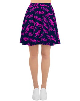 meows all over print skater skirt front