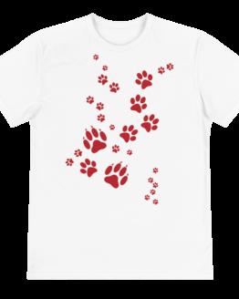 paw prints eco t-shirt front white
