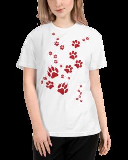 paw prints eco t-shirt woman white