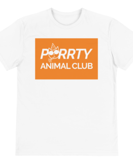 purrty animal club eco t-shirt front white