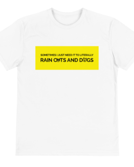 raining cats and dogs eco t-shirt front white
