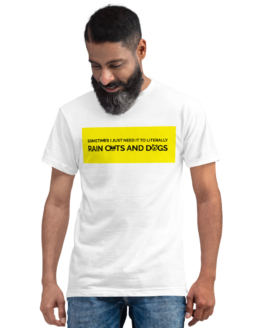 raining cats and dogs eco t-shirt man white