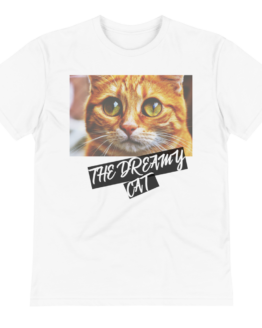 dreamy cat eco t-shirt wrinkled white