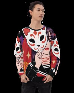 anime cat girl all over print sweatshirt man front