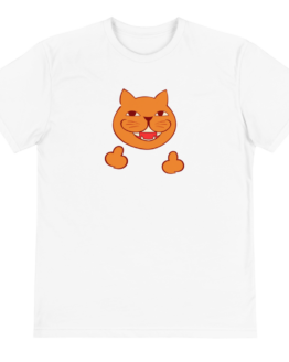rude cat eco t-shirt front white