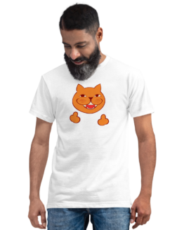 rude cat eco t-shirt man white
