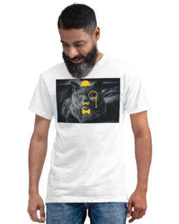sir meow eco t-shirt man white