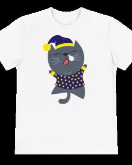 sleepy cat eco t-shirt front white