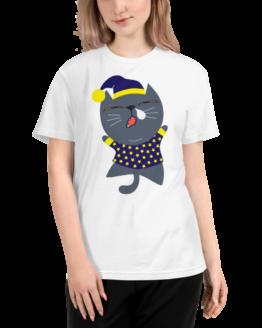 sleepy cat eco t-shirt woman white